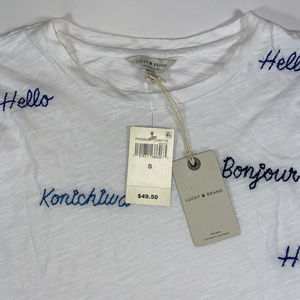 Lucky Brand Women's Small Embroidered Hello Top